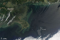 The oil slick in the Gulf taken by NASA's Aqua satellite using MODIS on Tuesday, May 4, 2010.