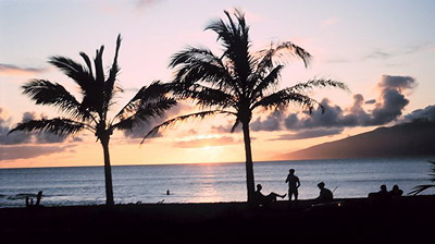 Hawaii sunset at the beach