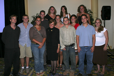 Dr. Wood's (on left) fall 2005 Marine Invertebrate Class with Dr. Sylvia Earle (center)
