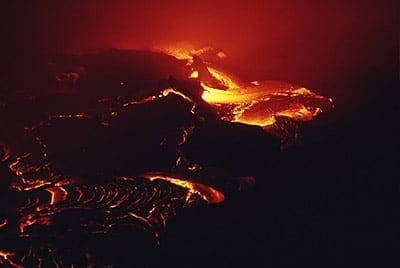 Molten lava in Hawaii