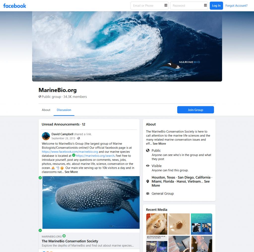 MarineBio facebook group