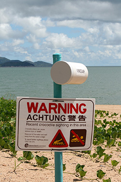 Crocodile sighting warning sign in Townsville, Australia Dec, 2010